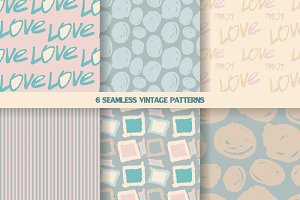 6 seamless patterns in pastel tones