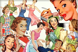Retro Happy Housewives Elements