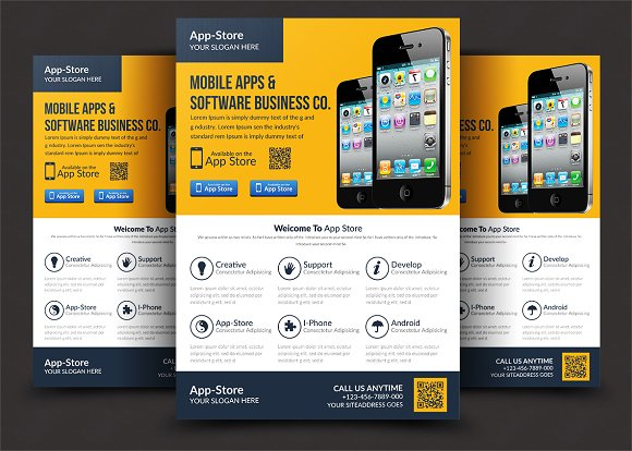 mobile app flyer flyer templates creative market