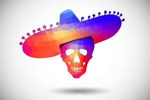 Geometric Skull in Sombrero
