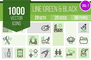 1000 Line Green & Black Icons (V7)