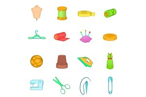 Tailoring icons set, cartoon style