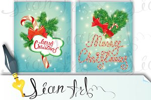 2 Holiday Cards, Merry Christmas