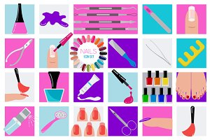 Manicure, nails icon set + seamless