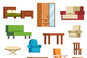 Furniture and home decor vector set