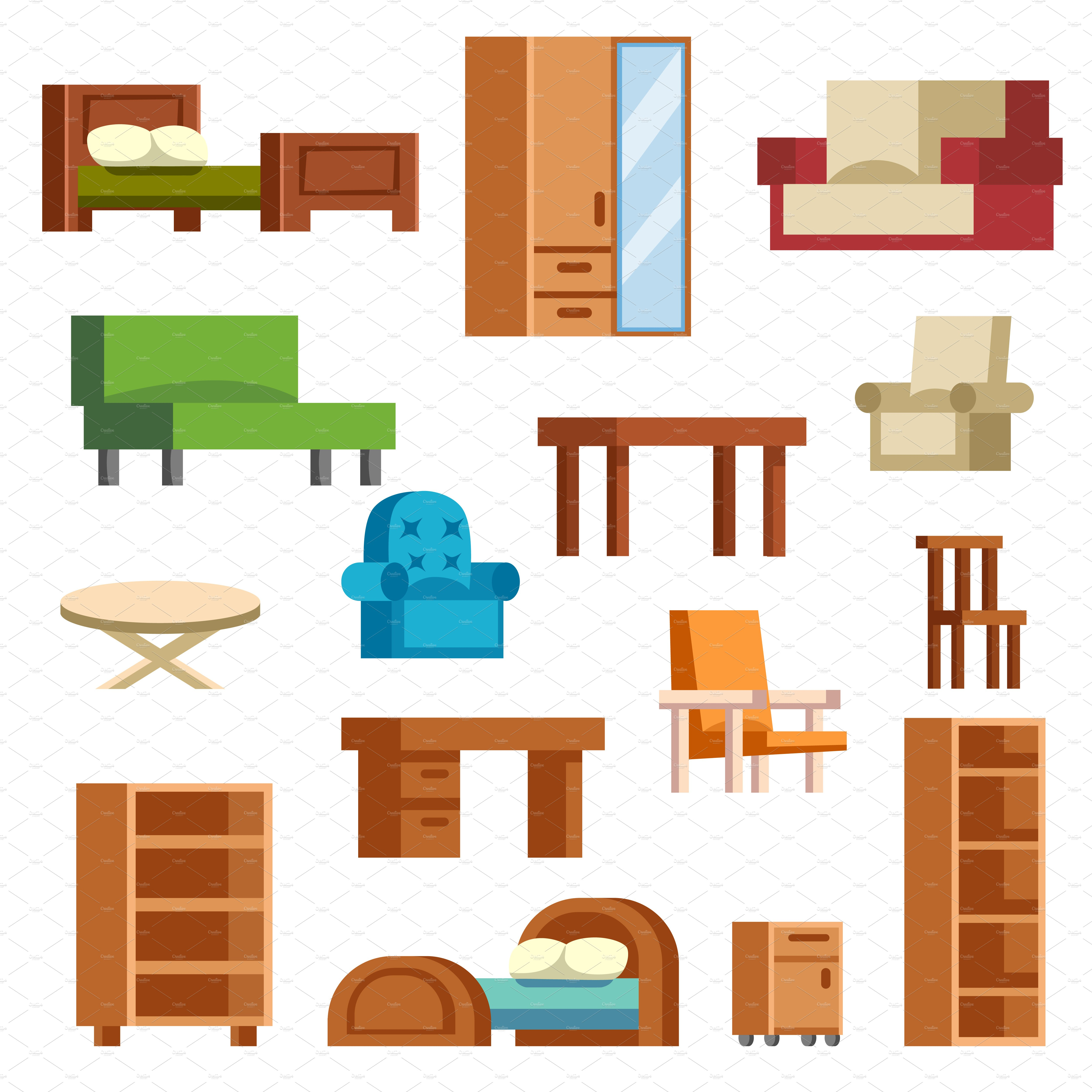 Furniture and home decor vector set | Custom-Designed ...