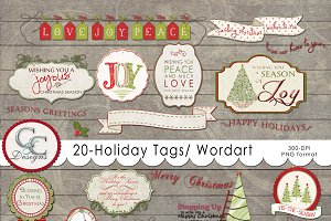 20 Holiday Tags- Elements