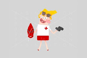 3d illustration. Lifeguard.