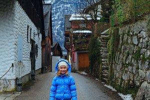 Children in winter Alps mountain