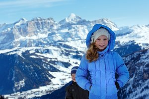 Children in winter Alps mountain