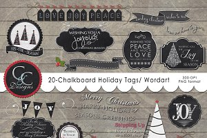 20 Chalkboard Holiday Tags-WordArt
