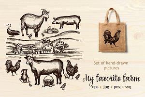 Farm hand drawn set