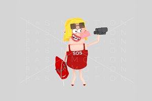3d illustration. Female Lifeguard.