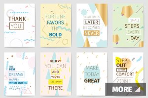 16 typography cards with quotes