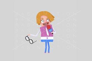 3d illustration. Female reporter.