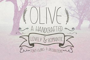 Olive Hand Drawn Font + Decorations