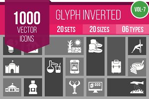 1000 Glyph Inverted Icons (V7)