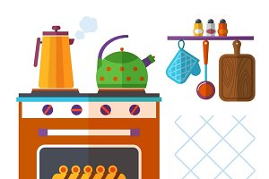 Home kitchenware vector concept