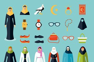 Arab woman accessories and clothes