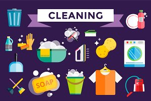 Cleaning icons vector set