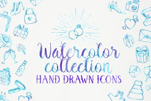 Wedding icons - Watercolor set