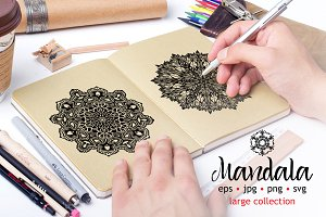 Mandala hand drawn decorative set