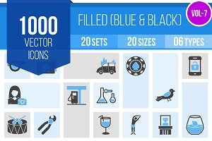 1000 Blue & Black Icons (V7)