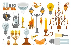 Lighting icon set + seamless pattern