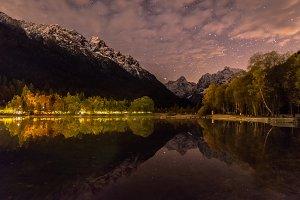 Jasna lake reflection at night