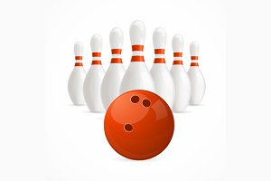 Group of White Bowling Pins and Ball
