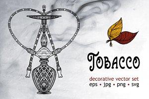 Tobacco decorative vector set