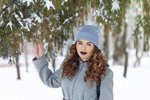 Hipster Girl in winter