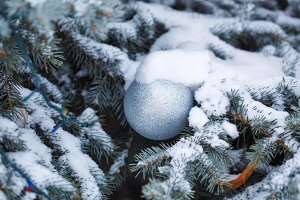 Ball and snow Christmas decorations