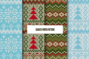 4 Seamless winter patterns