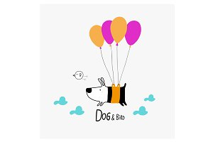 Dog & Bird flying with balloons