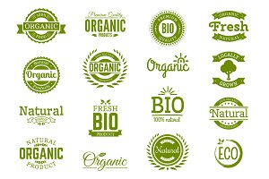 Organic logos. Natural, bio food.