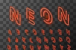 Neon red letters in isometric view