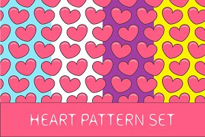 Heart seamless pattern set