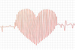 Cardiogram graph in heart shape