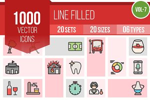 1000 Line Filled Icons (V7)