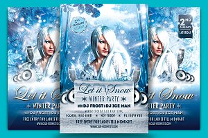 Let It Snow Party Flyer Template