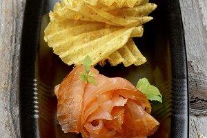 Smoked Salmon and Potato Chips
