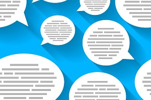 Speech bubbles with text on blue