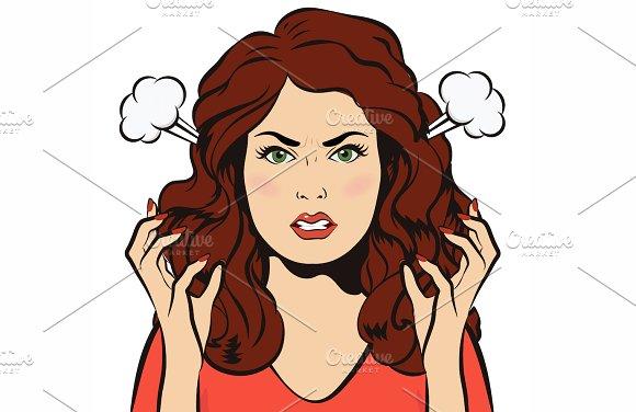 Angry woman. Stressful girl. EPS+JPG - Graphics