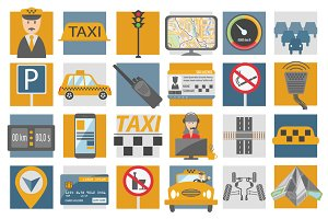 Taxi icon set+infographic templates