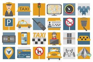 Taxi icon set+infographic templates
