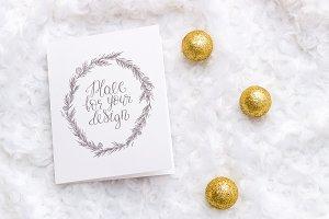 Christmas Mockup. Card, golden balls