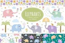 Elephants: seamless patterns&clipart