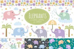 Elephants: seamless patterns&clipart