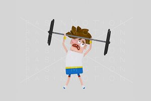 3d illustration. Weightlifting.